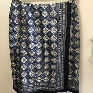 Talbots Petites 100% Silk Wrap Skirt size 6 Blue